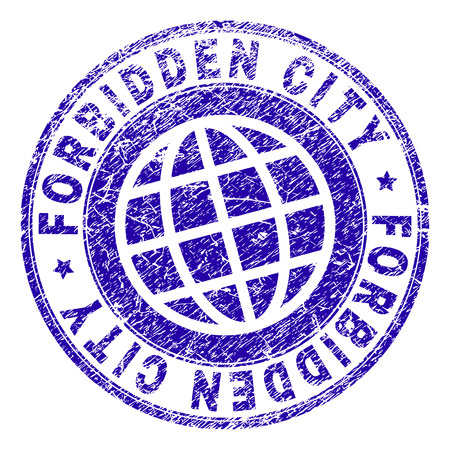 FORBIDDEN CITY stamp print with distress texture. Blue vector rubber seal print of FORBIDDEN CITY text with unclean texture. Seal has words placed by circle and globe symbol.