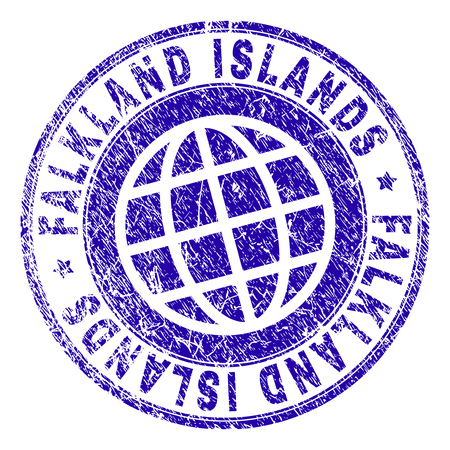 FALKLAND ISLANDS stamp print with distress texture. Blue vector rubber seal print of FALKLAND ISLANDS caption with corroded texture. Seal has words arranged by circle and planet symbol.