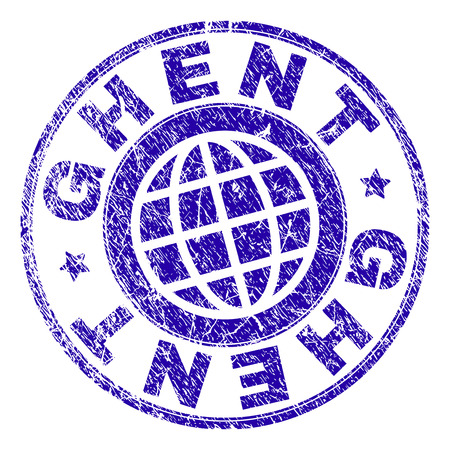 GHENT stamp imprint with grunge texture. Blue vector rubber seal imprint of GHENT tag with unclean texture. Seal has words placed by circle and globe symbol.