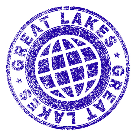 GREAT LAKES stamp imprint with grunge style. Blue vector rubber seal imprint of GREAT LAKES label with grunge texture. Seal has words placed by circle and globe symbol.