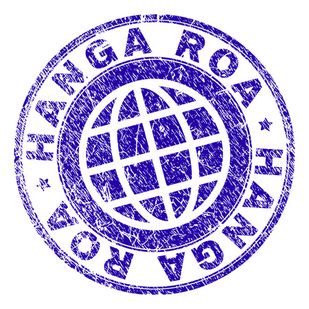 HANGA ROA stamp print with grunge texture. Blue vector rubber seal print of HANGA ROA label with dirty texture. Seal has words placed by circle and globe symbol. Ilustração