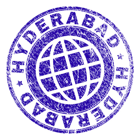 HYDERABAD stamp print with grunge texture. Blue vector rubber seal print of HYDERABAD text with grunge texture. Seal has words arranged by circle and globe symbol.