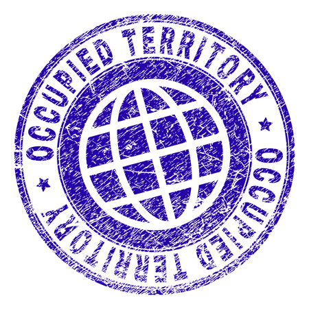 OCCUPIED TERRITORY stamp print with grunge style. Blue vector rubber seal print of OCCUPIED TERRITORY tag with unclean texture. Seal has words arranged by circle and planet symbol. Vectores