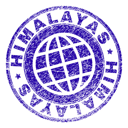 HIMALAYAS stamp print with grunge texture. Blue vector rubber seal imprint of HIMALAYAS text with grunge texture. Seal has words arranged by circle and planet symbol.