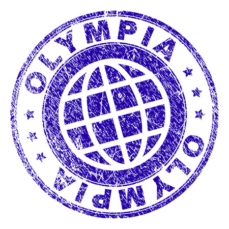 OLYMPIA stamp print with grunge texture. Blue vector rubber seal print of OLYMPIA text with scratched texture. Seal has words arranged by circle and globe symbol. Illustration