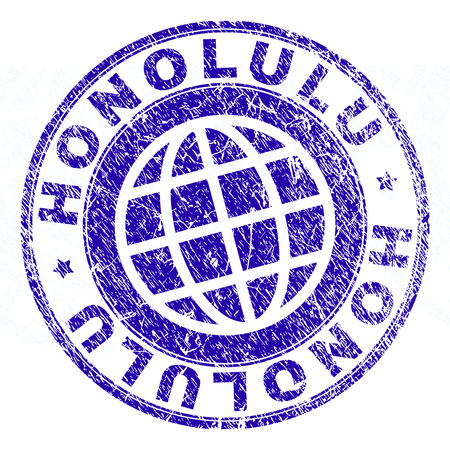 HONOLULU stamp imprint with grunge texture. Blue vector rubber seal imprint of HONOLULU caption with grunge texture. Seal has words arranged by circle and globe symbol. Illustration