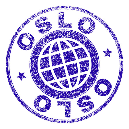 OSLO stamp imprint with grunge effect. Blue vector rubber seal imprint of OSLO text with dust texture. Seal has words arranged by circle and planet symbol.