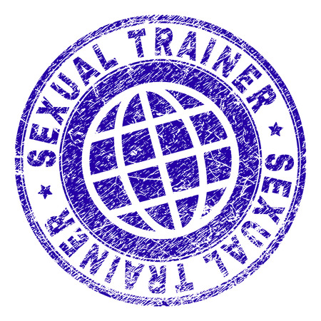 SEXUAL TRAINER stamp watermark with grunge texture. Blue vector rubber seal print of SEXUAL TRAINER title with grunge texture. Seal has words placed by circle and planet symbol.