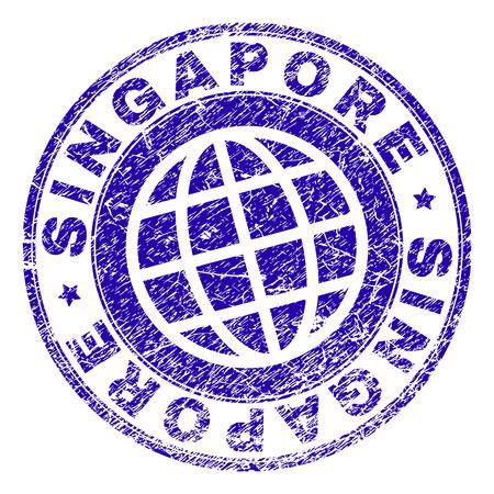 Huella de sello de Singapur con textura grunge. Impresión de sello de goma de vector azul del título de Singapur con textura grunge. El sello tiene palabras ordenadas por círculo y símbolo de planeta. Ilustración de vector
