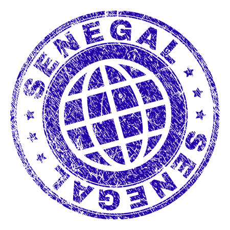SENEGAL stamp watermark with grunge texture. Blue vector rubber seal imprint of SENEGAL title with grunge texture. Seal has words placed by circle and planet symbol.