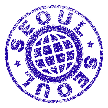 SEOUL stamp watermark with grunge texture. Blue vector rubber seal imprint of SEOUL tag with grunge texture. Seal has words arranged by circle and planet symbol.