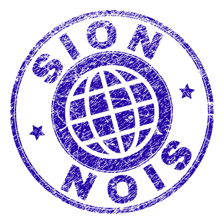 SION stamp watermark with distress texture. Blue vector rubber seal print of SION tag with scratched texture. Seal has words placed by circle and globe symbol.