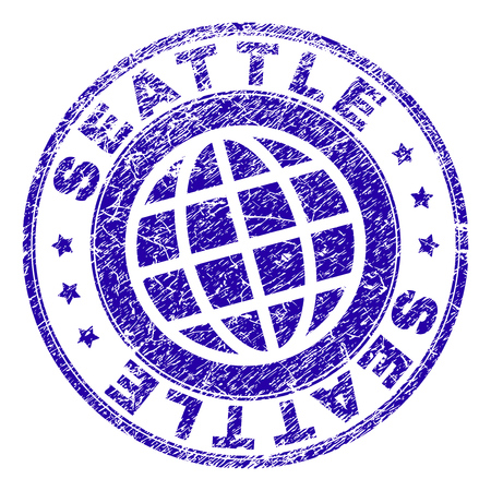 SEATTLE stamp watermark with distress texture. Blue vector rubber seal print of SEATTLE caption with grunge texture. Seal has words arranged by circle and globe symbol.