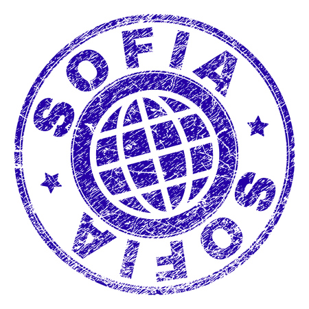 SOFIA stamp imprint with distress texture. Blue vector rubber seal imprint of SOFIA text with retro texture. Seal has words arranged by circle and globe symbol.