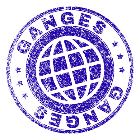 GANGES stamp print with distress texture. Blue vector rubber seal print of GANGES tag with dirty texture. Seal has words placed by circle and globe symbol.