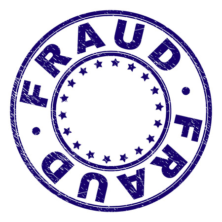 FRAUD stamp seal watermark with grunge texture. Designed with round shapes and stars. Blue vector rubber print of FRAUD text with grunge texture.