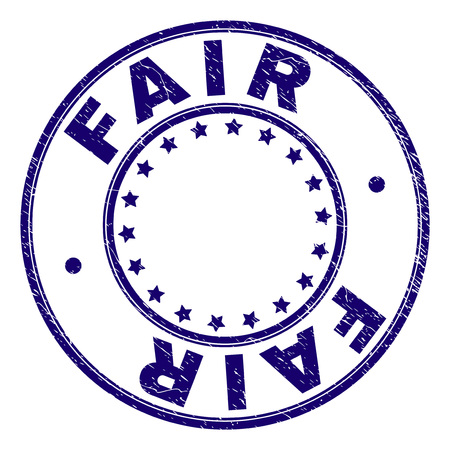 FAIR stamp seal watermark with distress texture. Designed with round shapes and stars. Blue vector rubber print of FAIR tag with dirty texture.