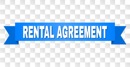 RENTAL AGREEMENT text on a ribbon. Designed with white title and blue stripe. Vector banner with RENTAL AGREEMENT tag on a transparent background. Illusztráció