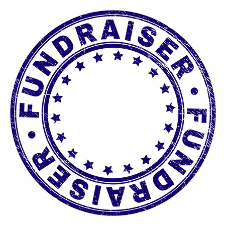 FUNDRAISER stamp seal imprint with grunge texture. Designed with circles and stars. Blue vector rubber print of FUNDRAISER text with grunge texture.