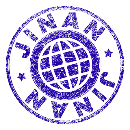 JINAN stamp print with grunge texture. Blue vector rubber seal print of JINAN caption with unclean texture. Seal has words placed by circle and globe symbol.
