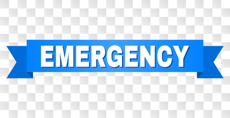 EMERGENCY text on a ribbon. Designed with white title and blue stripe. Vector banner with EMERGENCY tag on a transparent background.