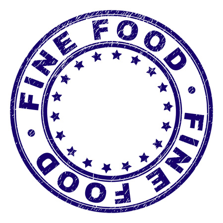 FINE FOOD stamp seal watermark with grunge texture. Designed with round shapes and stars. Blue vector rubber print of FINE FOOD title with grunge texture. Illusztráció
