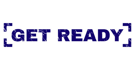 GET READY sceau de texte avec effet grunge. Le titre du texte est placé à l'intérieur des coins. Impression en caoutchouc de vecteur bleu de GET READY avec texture grunge. Vecteurs