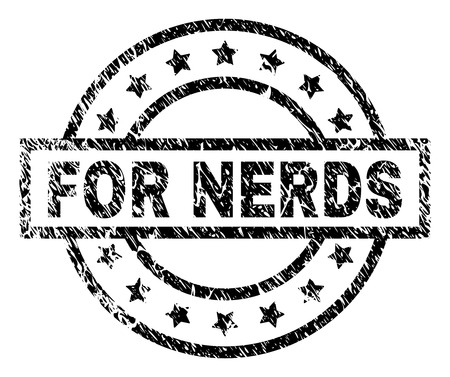 FOR NERDS stamp seal watermark with distress style. Designed with rectangle, circles and stars. Black vector rubber print of FOR NERDS tag with dust texture. 일러스트
