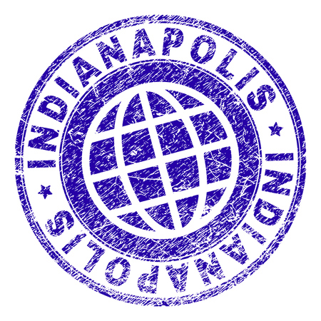 INDIANAPOLIS stamp print with grunge texture. Blue vector rubber seal print of INDIANAPOLIS label with grunge texture. Seal has words arranged by circle and planet symbol. Illustration