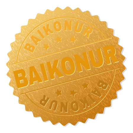 BAIKONUR gold stamp reward. Vector gold award with BAIKONUR text. Text labels are placed between parallel lines and on circle. Golden skin has metallic structure.