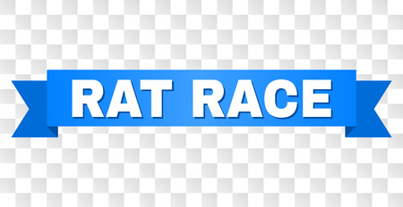 RAT RACE text on a ribbon. Designed with white title and blue tape. Vector banner with RAT RACE tag on a transparent background.