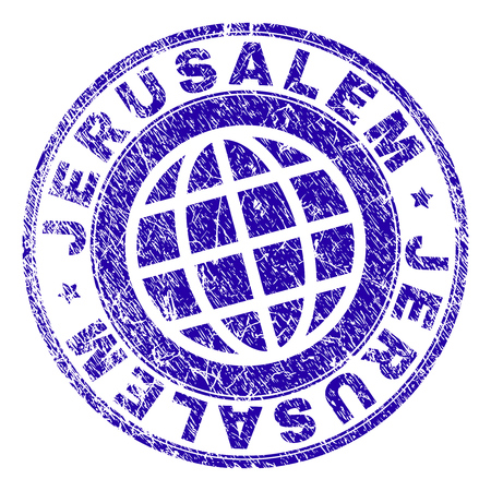 JERUSALEM stamp print with grunge texture. Blue vector rubber seal print of JERUSALEM caption with corroded texture. Seal has words placed by circle and globe symbol.