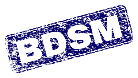 BDSM stamp seal print with grunge texture. Seal shape is a rounded rectangle with frame. Blue vector rubber print of BDSM text with grunge style.  イラスト・ベクター素材