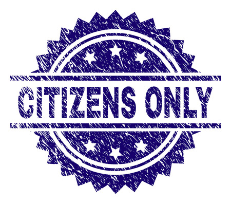 CITIZENS ONLY stamp seal watermark with distress style. Blue vector rubber print of CITIZENS ONLY text with dirty texture.