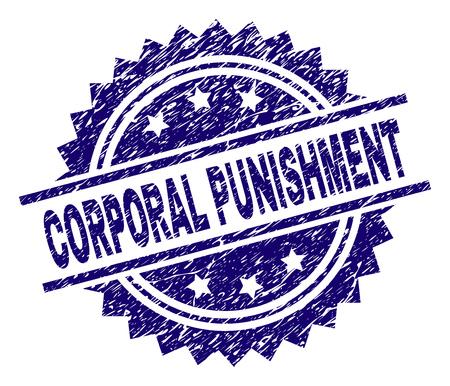 CORPORAL PUNISHMENT sello sello marca de agua con estilo de angustia. Impresión de goma de vector azul de la etiqueta de CASTIGO CORPORAL con textura sucia. Ilustración de vector