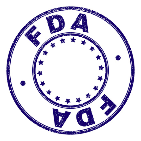 FDA stamp seal watermark with distress texture. Designed with circles and stars. Blue vector rubber print of FDA caption with dirty texture.