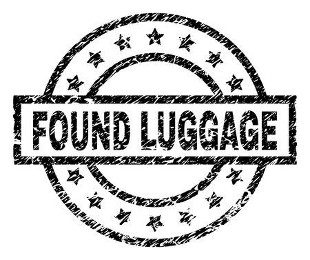 FOUND LUGGAGE stamp seal watermark with distress style. Designed with rectangle, circles and stars. Black vector rubber print of FOUND LUGGAGE tag with grunge texture.