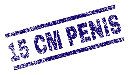 15 CM PENIS seal stamp with grunge style. Blue vector rubber print of 15 CM PENIS text with grunge texture. Text label is placed between parallel lines. Ilustração