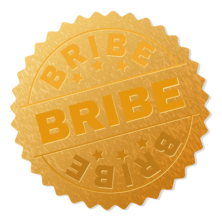 BRIBE gold stamp award. Vector golden award with BRIBE tag. Text labels are placed between parallel lines and on circle. Golden area has metallic structure.