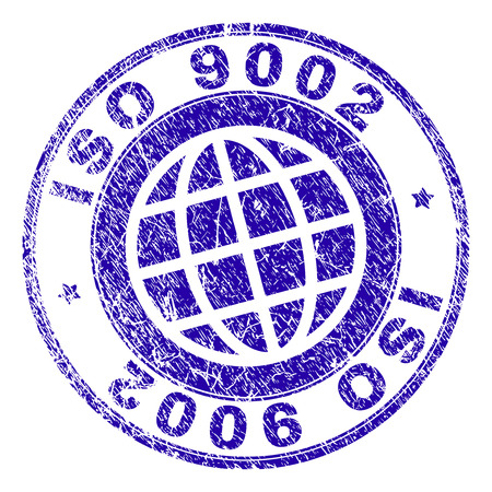 ISO 9002 stamp imprint with grunge style. Blue vector rubber seal imprint of ISO 9002 tag with retro texture. Seal has words placed by circle and planet symbol.