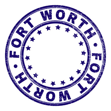 FORT WORTH stamp seal imprint with grunge texture. Designed with round shapes and stars. Blue vector rubber print of FORT WORTH caption with scratched texture.