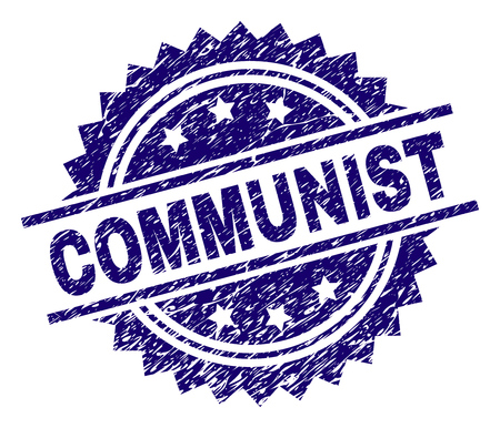 COMMUNIST stamp seal watermark with distress style. Blue vector rubber print of COMMUNIST caption with scratched texture. Vector Illustration