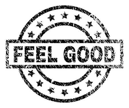 FEEL GOOD stamp seal watermark with distress style. Designed with rectangle, circles and stars. Black vector rubber print of FEEL GOOD caption with corroded texture. 일러스트