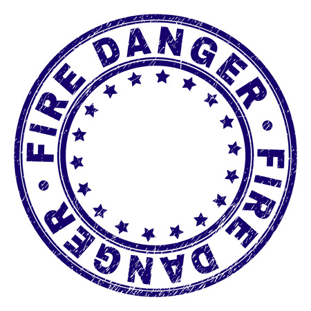 FIRE DANGER stamp seal imprint with grunge texture. Designed with circles and stars. Blue vector rubber print of FIRE DANGER caption with retro texture. 向量圖像