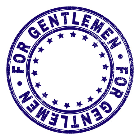 FOR GENTLEMEN stamp seal watermark with grunge texture. Designed with round shapes and stars. Blue vector rubber print of FOR GENTLEMEN text with dirty texture.