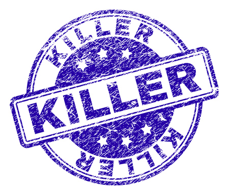 KILLER stamp seal imprint with grunge texture. Designed with rounded rectangles and circles. Blue vector rubber print of KILLER title with grunge texture. Vektorové ilustrace