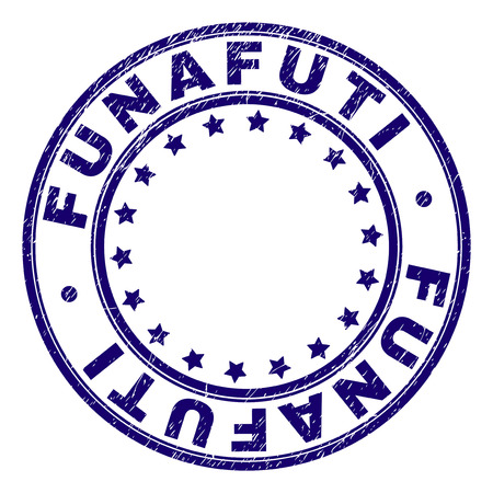 FUNAFUTI stamp seal imprint with grunge texture. Designed with round shapes and stars. Blue vector rubber print of FUNAFUTI label with unclean texture. Illusztráció