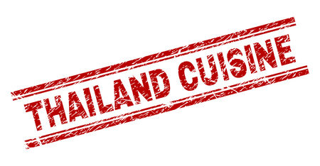 THAILAND CUISINE seal imprint with corroded texture. Red vector rubber print of THAILAND CUISINE tag with grunge texture. Text tag is placed between double parallel lines.