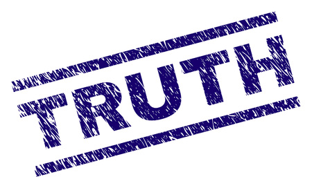 TRUTH seal print with scratced style. Blue vector rubber print of TRUTH caption with scratched texture. Text caption is placed between parallel lines.