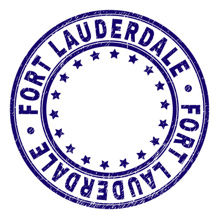 FORT LAUDERDALE stamp seal watermark with distress texture. Designed with round shapes and stars. Blue vector rubber print of FORT LAUDERDALE caption with dirty texture.